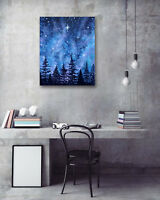 """1PC 16X20"""" Purple night sky Art Painting on Canvas NO frame Painted Photo 1L580"""