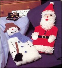 Snowman & Father Christmas Hot Water Bottle Covers DK Knitting Pattern