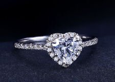 1.50 Ct Heart Shape Diamond Engagement Ring Wedding Band 14K White Gold Over