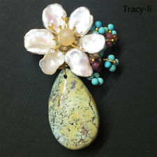 Natural Crystal Freshwater Pearl Turquoise flower brooch pin/pendant necklace