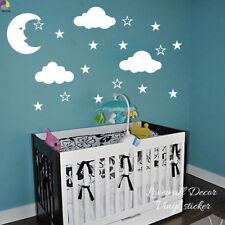 Cartoon Moon Stars Clouds White Wall Sticker Baby Nursery Kids Room Large Size