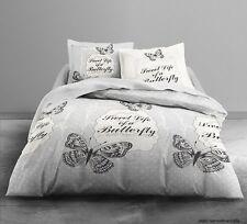 Housse de couette en polyester 240X220 cm + 2 taies d'oreiller Envol de papillon