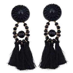 Women's Black Bohemian Boho Drop Dangle Tassel Fringe Beaded Earrings Brand New