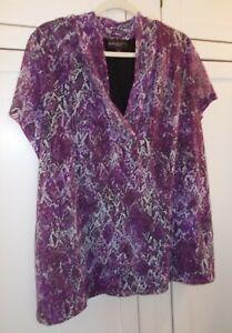 Dana Buchman Woman~Purple Draped V Neck Chiffon Knit Lined Blouse S/S Plus SZ~2X