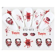 Nail Art Water Decals Transfers Halloween Vampire Blood Bloody Hands Lips (S873)
