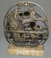 VINTAGE HAND MADE BRASS STATUETTE WITH MARBLE BASE EGYPTIAN ARCHER CHARIOT