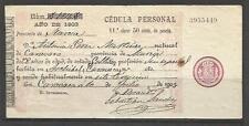 Q7-DOCUMENTO DE 1903 SELLO FISCAL CÉDULA PERSONAL ARCHIVEL ,CARAVACA