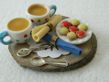 (F13) DOLLS HOUSE HANDMADE TEA and TARTS SET