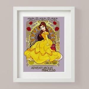 Disney PRINCESS BELLE Beauty Beast Colour Yellow Picture Print Nursery Bedroom