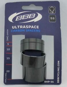 """BBB Headset CARBON Spacers (4) BHP-35 UltraSpace 1-1/8"""" - 5, 10, 15, 20mm"""