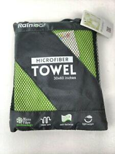 Rainleaf Microfiber Towel Dry Fast Perfect Travel Camp Gym 30x60 Green New