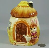 Vintage Easter Bunny Rabbit House Ceramic Pottery Planter Japan Whimsical!