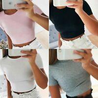 Women Summer Short Sleeve T-Shirt Slim Gym Blouse Sports Sexy Crop Tank Top