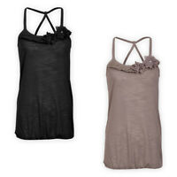 Womens Ladies Lightweight Jersey Cross Back Cami Top Casual Spaghetti Strap Vest