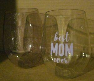 Slant Collections Jumbo Plastic Stemless Wine Glasses Best Mom Ever LB6 Purple