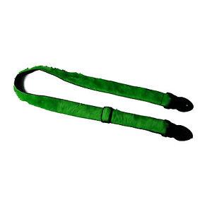 Gitarrengurt Leathergraft grün Plüsch, Flokati Yetifell-Imitat