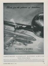 1948 Armstrong Siddeley Motor Ad Mamba Python Propeller Turbine Aircraft Engines