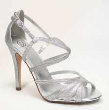 Women's Bridal Glitter Strappy Open Toe Dress High Heel Platform Shoes 5 - 10