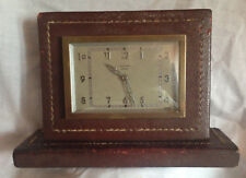 Ancienne pendule mecanique de bureau BAYARD en cuir à renover ou pr decoration