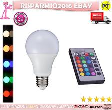 LAMPADINA A LED RGB GIALLA ROSSA ROSA FUXIA VERDE ARANCIONE BLU EFFETTI LUCE E27