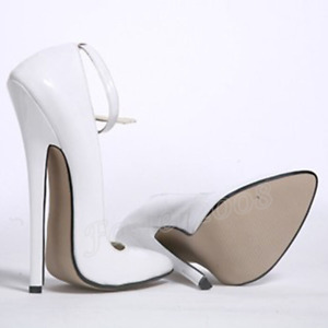 Women's 18cm White Shoes Stilettos High Heels Buckle Sexy Pointed Toe Shoes New