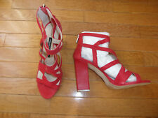 French Connection Isla Lipstick Red Caged Heels Sandals NWB SZ 9 40