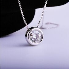 White Gold Plated 1ct DF 6.5mm Moissanite Halo Pendant Necklace 18 Inch Chain