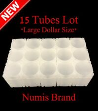 15 Numis Square Coin Tubes US Large Dollar Size Stackable Safe Storage Durable