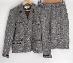 ST. JOHN collection Marie Gray amazing Knit Skirt Suit Button Front US 6 AU 10