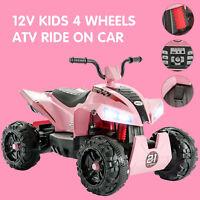 12V Electric Kids Ride On Toy ATV Car Quad 4 Wheels Toy Led Lights 2 Speed Pink