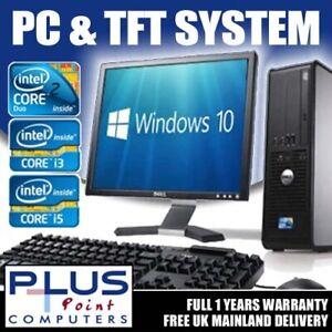 FULL DELL/HP DUALCORE /i3 /i5 DESKTOP TOWER PC & TFT COMPUTER SYSTEM WINDOWS 10
