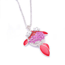 Hot Fashion Sparkly Crystal Purple Red Goldfish Necklace Pendant For Women Girl