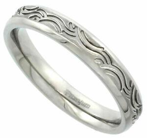 Titanium Ring Men Women Wedding Band Wave Pattern Brushed Finish Flat 4mm
