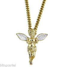 "Angel Cherub Micro Pendant Stardust Wings 14k Gold Plate 30"" Cuban Hip Hop Chain"