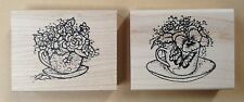 Mounted Rubber Stamps, Sets, Tea Cups, Cup, Flowers, Roses, Pansies, Coffee, Tea