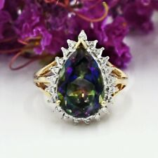 14k Yellow & White Gold Estate Mystic Topaz And Diamond Ring Size 8