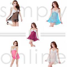 Sexy Lingerie Lace Dress Underwear Babydoll Nightwear Sleepwear + G-string Set