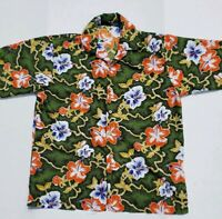 ODO Men's Hawaiian Large Shirt Green with Orange Hibiscus Print Free Shipping