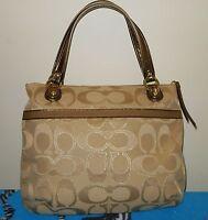 Coach Large Poppy Signature Metallic Glam Tote Shoulder Bag 18979 Khaki/Bronze