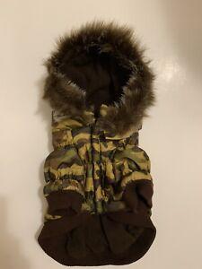 Pet Life Dog Camouflage Dog Parka Jacket Coat Green Beige Removable Hood Small