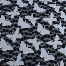 Elastic Net Fabric White Butterfly Black Dots Mesh Lace 150cm Wide BY YARD