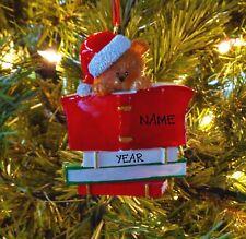Book Club Bear Wearing Santa Hat - Personalized Christmas Tree Ornaments