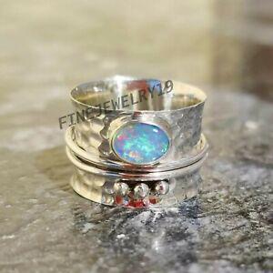 Äthiopische Opal Ring 925 Sterlingsilber Spange Ring Meditation Handmade Ring Rv