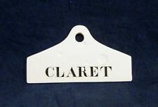 Antique Wedgwood CLARET Wine Cellar Bin Label