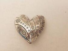 Tibetan Antique Silver Heart Bead, Lead Free & Nickel Free, 30x30x14 mm, Qty 1