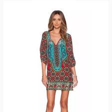 Women's Boho Paisley Tunic Hippie Tassel Loose Tops Party Dress Floral Blouse