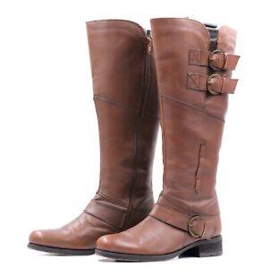 MARC Damen Stiefel Kniehoch EUR 37 UK 4 Braun Leder Echtleder Boots