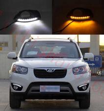 LED DRL Daytime Running Light Fog Day Lamp W/Turn For Hyundai Santa Fe 2010-2012