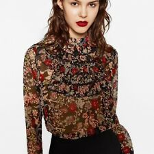 Zara Floral Blouse With Front Ruffles Size XS