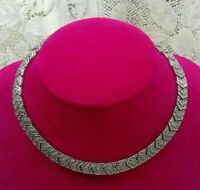 VINTAGE silver tone collar/necklace and matching earrings art deco style.